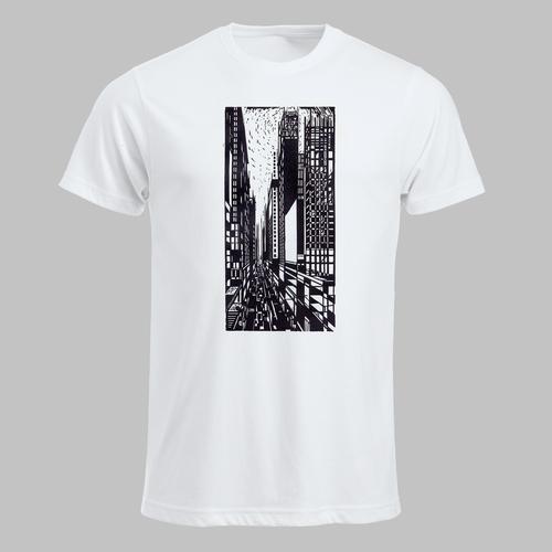 Houstnede van Amerikaans straatbeeld met wolkenkrabbers...