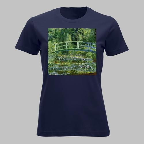 Schilderij van Japanse houten brug en waterlelies van...