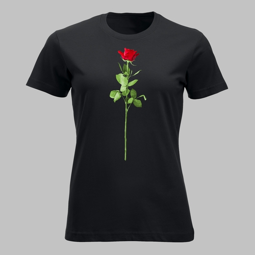 Valentijnsdag met een rode roos van liefde op je shirt