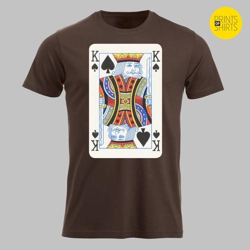 Speelkaart schoppen heer, de koning op je shirt