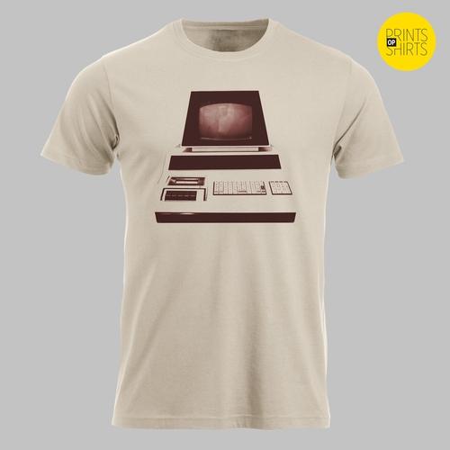 Vintage computer op je shirt
