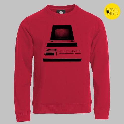 Vintage computer op je shirt - zwart