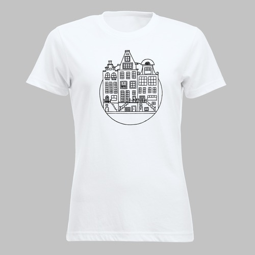 Amsterdamse grachten op je shirt of tas - 1