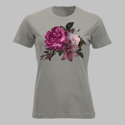 Weelderige bloemen, paarse, roze en witte rozen