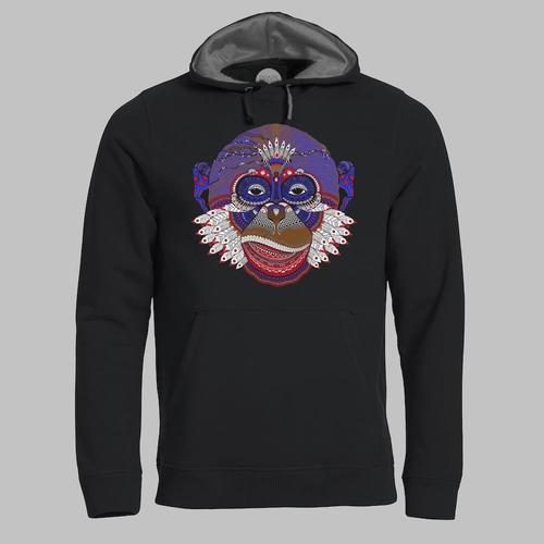 Zentangle illustratie van aap in felle kleuren